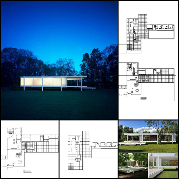 【World Famous Architecture CAD Drawings】Ludwig Mies van der Rohe - Farnsworth House
