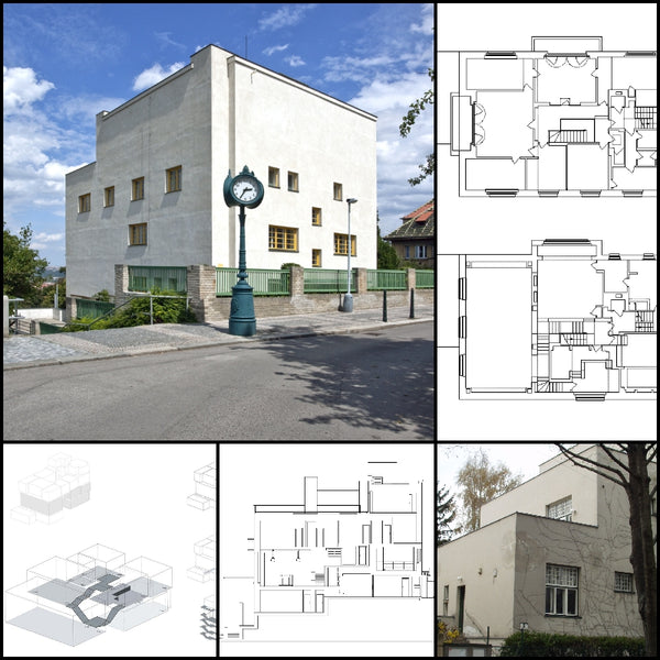 【World Famous Architecture CAD Drawings】Villa Muller-Adolf Loos - Architecture Autocad Blocks,CAD Details,CAD Drawings,3D Models,PSD,Vector,Sketchup Download