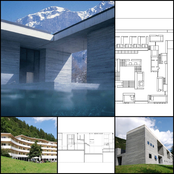 【World Famous Architecture CAD Drawings】The Therme Vals - Peter Zumthor - Architecture Autocad Blocks,CAD Details,CAD Drawings,3D Models,PSD,Vector,Sketchup Download