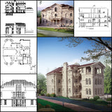 ★【Villa CAD Design,Details Project V.6-Italian Florentine Style】Chateau,Manor,Mansion,Villa@Autocad Blocks,Drawings,CAD Details,Elevation - Architecture Autocad Blocks,CAD Details,CAD Drawings,3D Models,PSD,Vector,Sketchup Download
