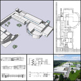 【World Famous Architecture CAD Drawings】Richard Meier - Weishaupt Forum - Architecture Autocad Blocks,CAD Details,CAD Drawings,3D Models,PSD,Vector,Sketchup Download