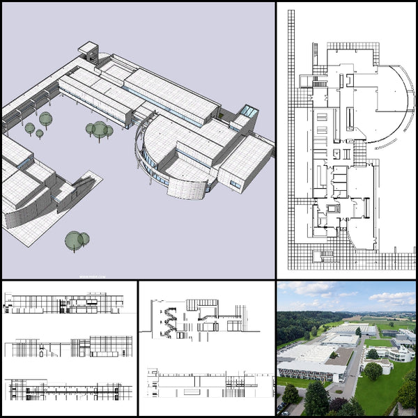【World Famous Architecture CAD Drawings】Richard Meier - Weishaupt Forum