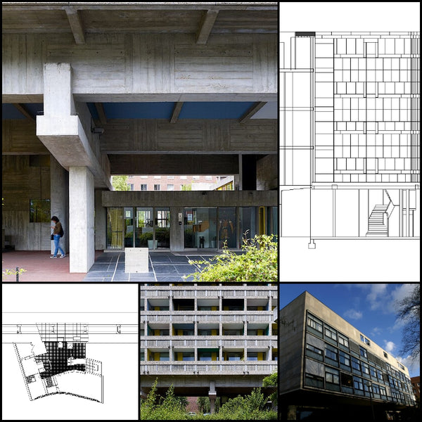 【World Famous Architecture CAD Drawings】Swiss Pavilion-Le Corbusier