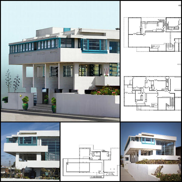 【World Famous Architecture CAD Drawings】 Lovell Beach House-Rudolf Schindler - Architecture Autocad Blocks,CAD Details,CAD Drawings,3D Models,PSD,Vector,Sketchup Download