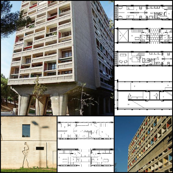 "【World Famous Architecture CAD Drawings】Lecorbusier-Housing Unit-Le Corbusier's Housing Unit ""Type Berlin"""