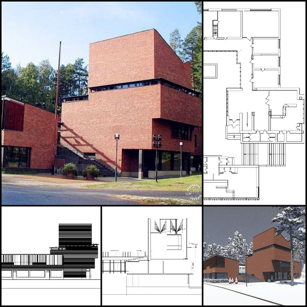 【World Famous Architecture CAD Drawings】Saynatsalo Town Hall-Alvar Aalto - Architecture Autocad Blocks,CAD Details,CAD Drawings,3D Models,PSD,Vector,Sketchup Download