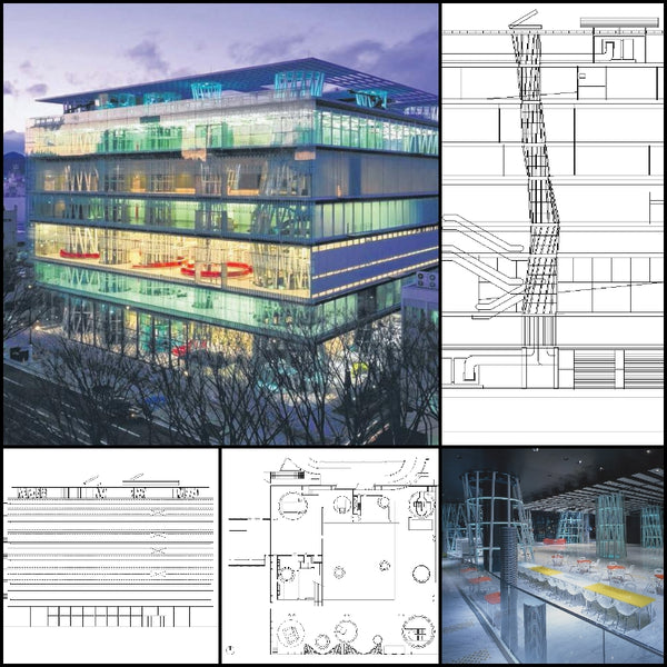 【World Famous Architecture CAD Drawings】Sendai Mediatheque-Toyo Ito - Architecture Autocad Blocks,CAD Details,CAD Drawings,3D Models,PSD,Vector,Sketchup Download