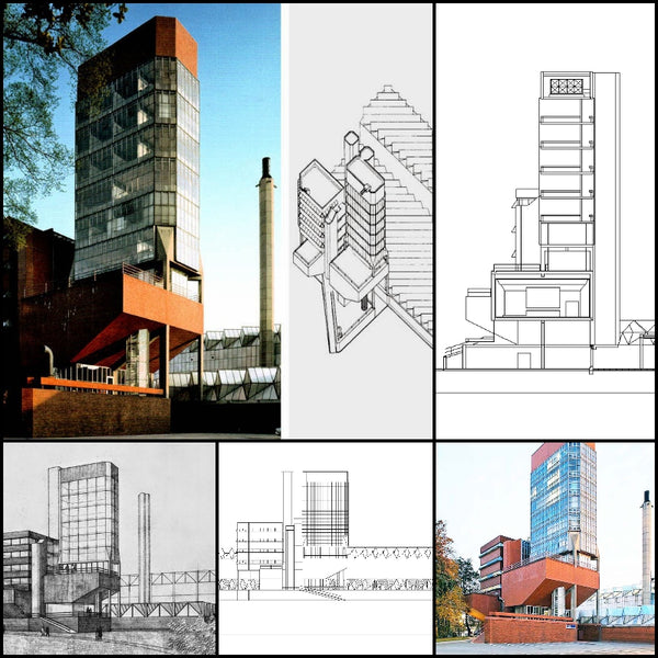 【World Famous Architecture CAD Drawings】University of Leicester-James Stirling - Architecture Autocad Blocks,CAD Details,CAD Drawings,3D Models,PSD,Vector,Sketchup Download