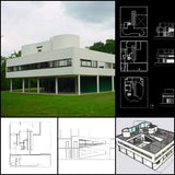 【World Famous Architecture CAD Drawings】Villa Savoye-Le Corbusier's Villa Savoye CAD Drawings+Sketchup 3D Model - Architecture Autocad Blocks,CAD Details,CAD Drawings,3D Models,PSD,Vector,Sketchup Download