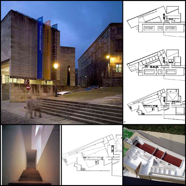 【World Famous Architecture CAD Drawings】Alvaro Siza - Galicia Museum of Contemporary Art