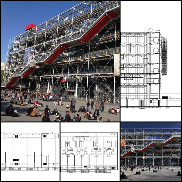 【World Famous Architecture CAD Drawings】Centre Georges Pompidou-Pompidou Centre -Richard Rogers and Renzo Piano - Architecture Autocad Blocks,CAD Details,CAD Drawings,3D Models,PSD,Vector,Sketchup Download