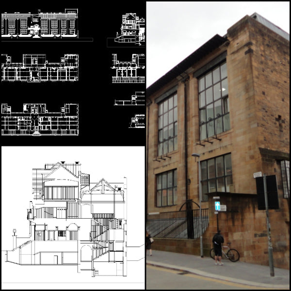 【World Famous Architecture CAD Drawings】Glasgow School of Art - Architecture Autocad Blocks,CAD Details,CAD Drawings,3D Models,PSD,Vector,Sketchup Download