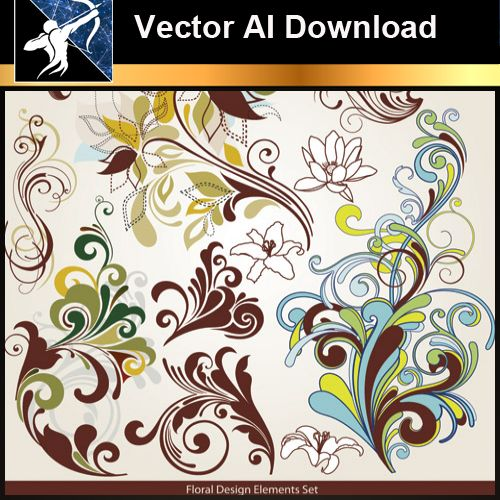 ★Vector Download AI-Floral Design Elements Vector V.2 - Architecture Autocad Blocks,CAD Details,CAD Drawings,3D Models,PSD,Vector,Sketchup Download