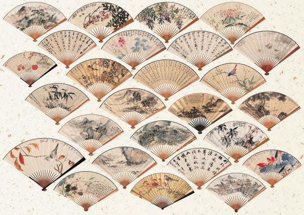 "★★Chinese Painting ""Folding Fans"" PNG + JPG Images, Vintage Clipart ,Digital Download Art for Invitations, Scrapbook, Prints,Crafts.."