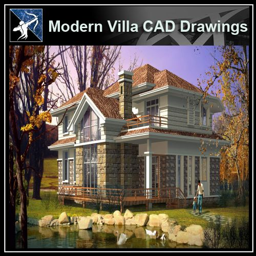 ★Modern Villa CAD Plan,Elevation Drawings Download V.34