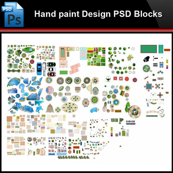 ★Photoshop PSD Blocks-Landscape Design PSD Blocks-Hand painted PSD Blocks V27 - Architecture Autocad Blocks,CAD Details,CAD Drawings,3D Models,PSD,Vector,Sketchup Download
