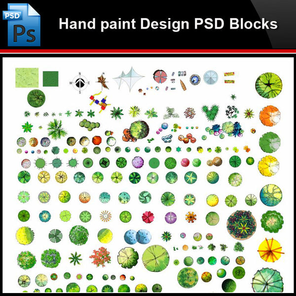 ★Photoshop PSD Blocks-Landscape Design PSD Blocks-Hand painted PSD Blocks V28 - Architecture Autocad Blocks,CAD Details,CAD Drawings,3D Models,PSD,Vector,Sketchup Download