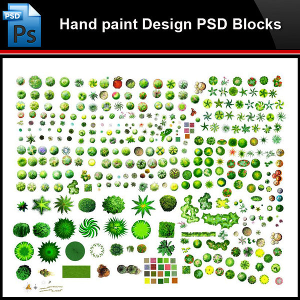 ★Photoshop PSD Blocks-Landscape Design PSD Blocks-Hand painted PSD Blocks V29 - Architecture Autocad Blocks,CAD Details,CAD Drawings,3D Models,PSD,Vector,Sketchup Download