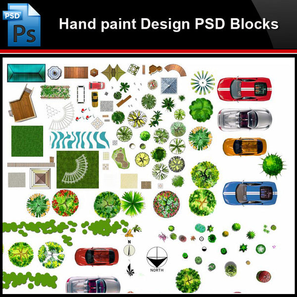 ★Photoshop PSD Blocks-Landscape Design PSD Blocks-Hand painted PSD Blocks V30 - Architecture Autocad Blocks,CAD Details,CAD Drawings,3D Models,PSD,Vector,Sketchup Download