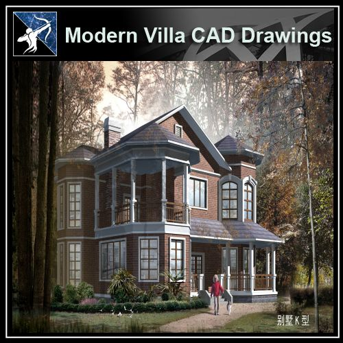 ★Modern Villa CAD Plan,Elevation Drawings Download V.22