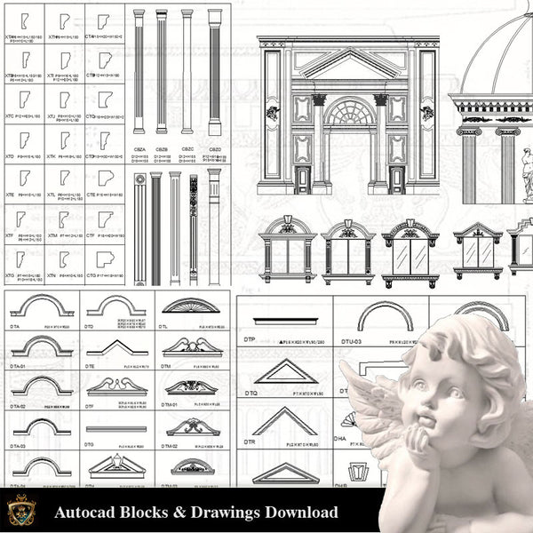 Architectural Decoration Elements CAD Blocks Bundle V.1 - Architecture Autocad Blocks,CAD Details,CAD Drawings,3D Models,PSD,Vector,Sketchup Download