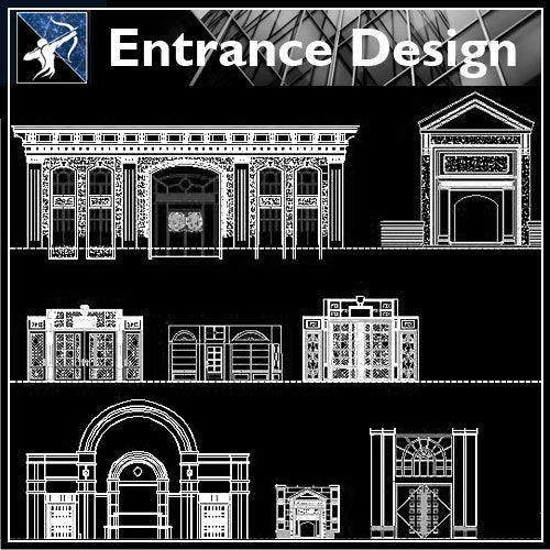 【Architecture Details】Entrance Design - Architecture Autocad Blocks,CAD Details,CAD Drawings,3D Models,PSD,Vector,Sketchup Download
