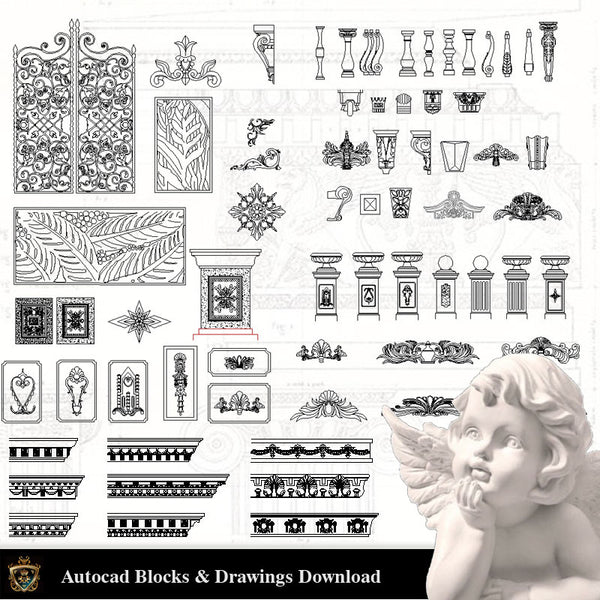 Architectural Decoration Elements CAD Blocks Bundle V.8 - Architecture Autocad Blocks,CAD Details,CAD Drawings,3D Models,PSD,Vector,Sketchup Download