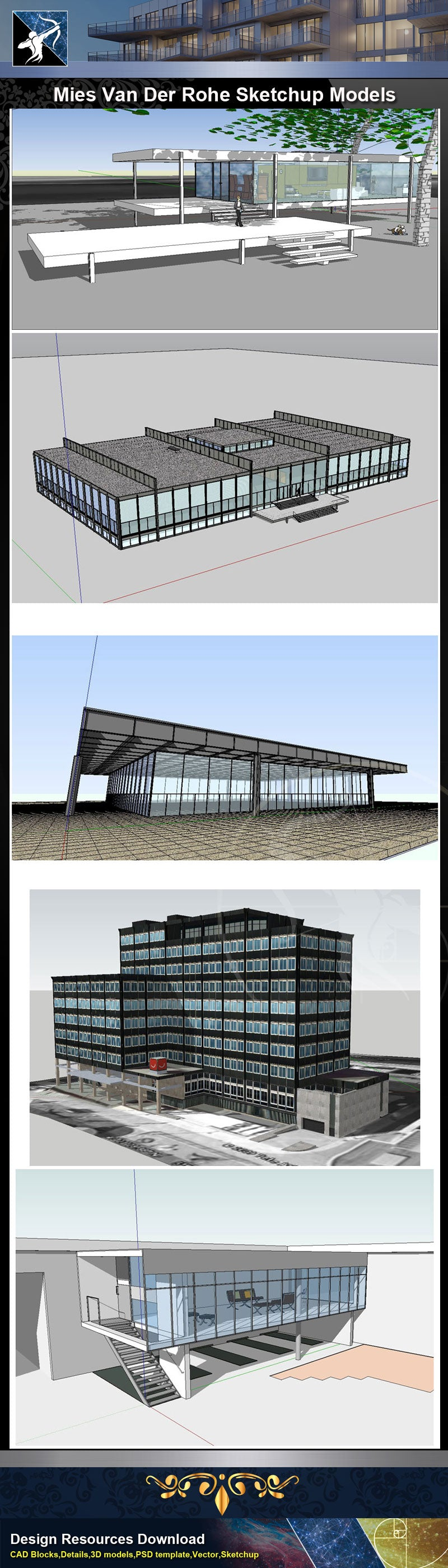 ★Famous Architecture -17 Kinds of Mies Van Der Rohe Sketchup 3D Models