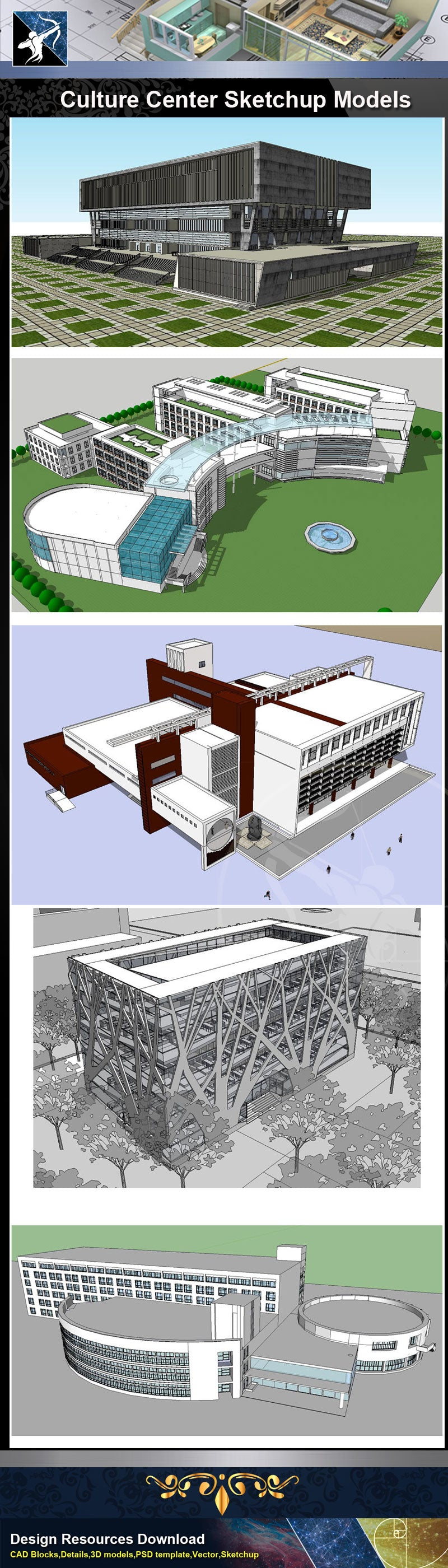 ★Sketchup 3D Models-15 Types of Culture Center Sketchup Models