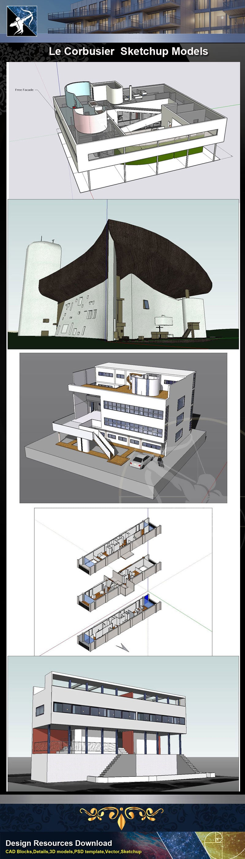 Famous Architecture 24 Kinds Of Le Corbusier Sketchup 3D Models