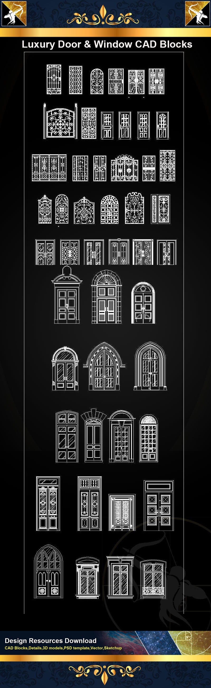 Luxury Door & Window Design elements Door frames,panels Decorative mantel pieces