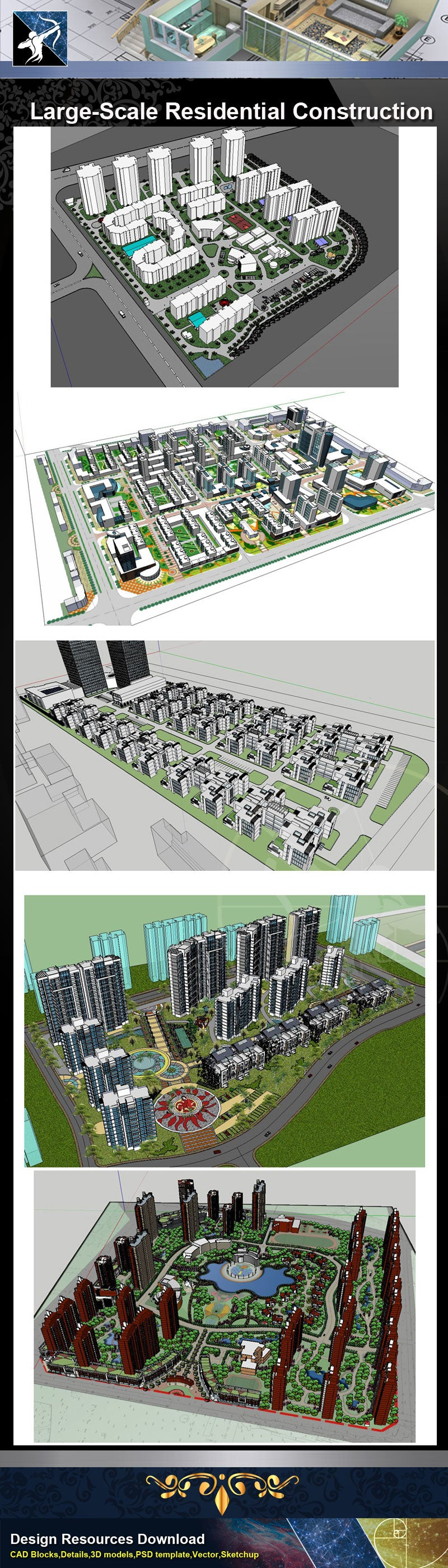 ★Sketchup 3D Models-Large-Scale Residential Construction and Landscape Sketchup Models