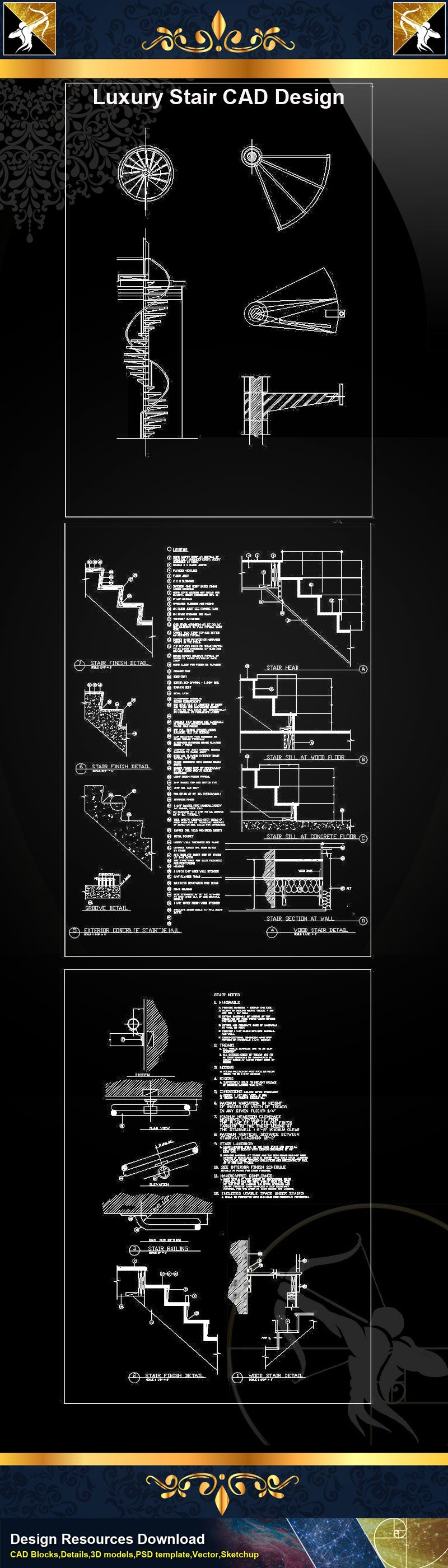 ★Luxury Stair Design CAD Drawings