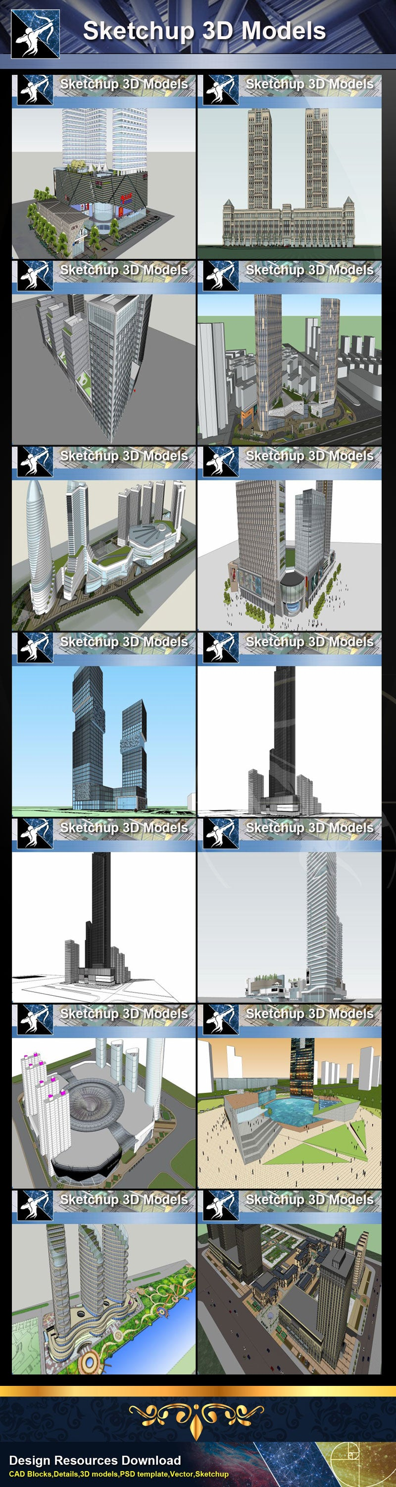 ★★Best 37 Types of Commercial,Shopping Mall Sketchup 3D Models Collection(Recommanded!!)