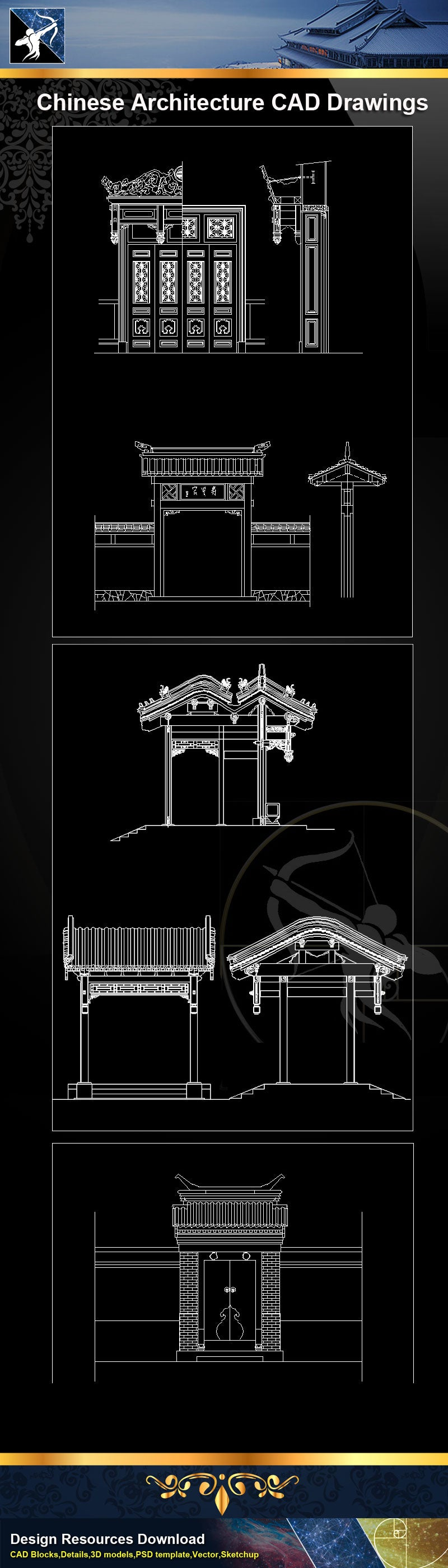 Chinese Architecture Drawing|Chinese Temple|Chinese Tower|Chinese building elevation|Chinese Traditional Architecture CAD Drawings
