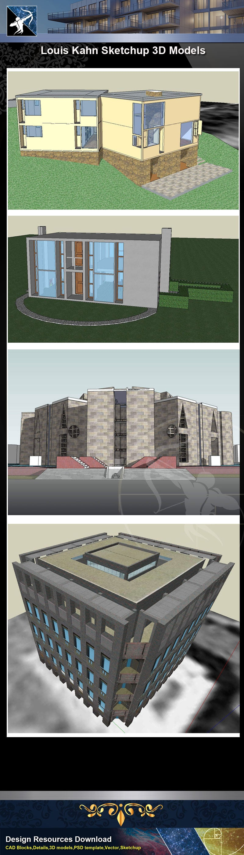 ★Famous Architecture -7 Kinds of Louis Kahn Sketchup 3D Models