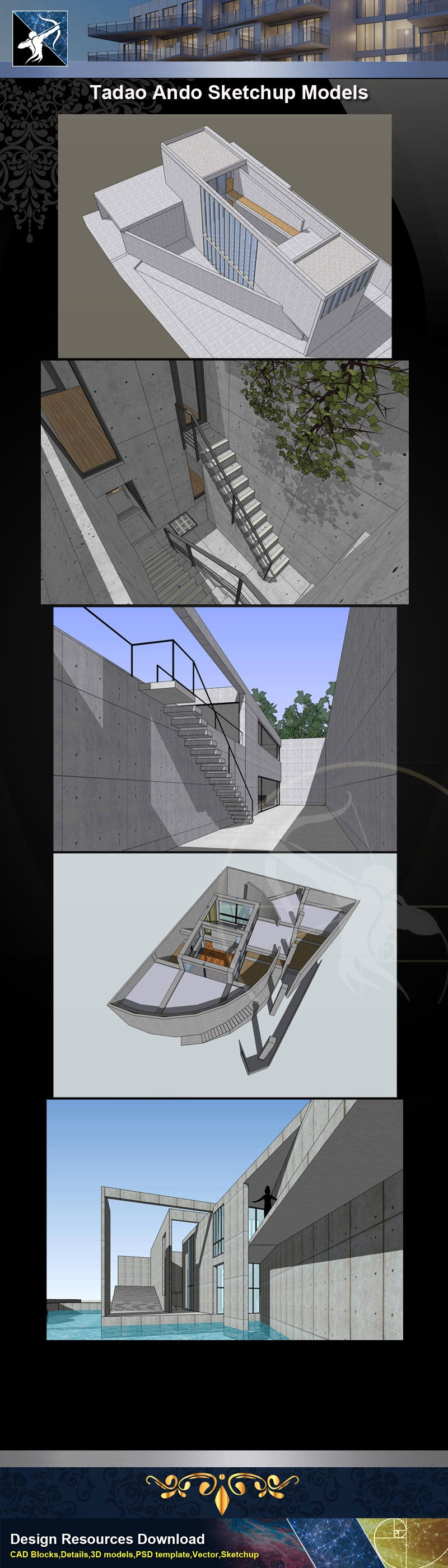 ★★Famous Architecture -Tadao Ando Sketchup 3D Models