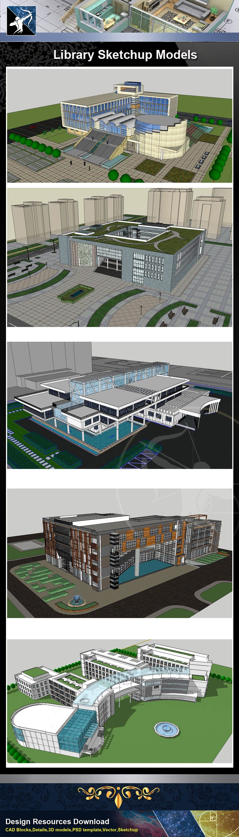 ★Sketchup 3D Models-15 Types of Library Sketchup Models