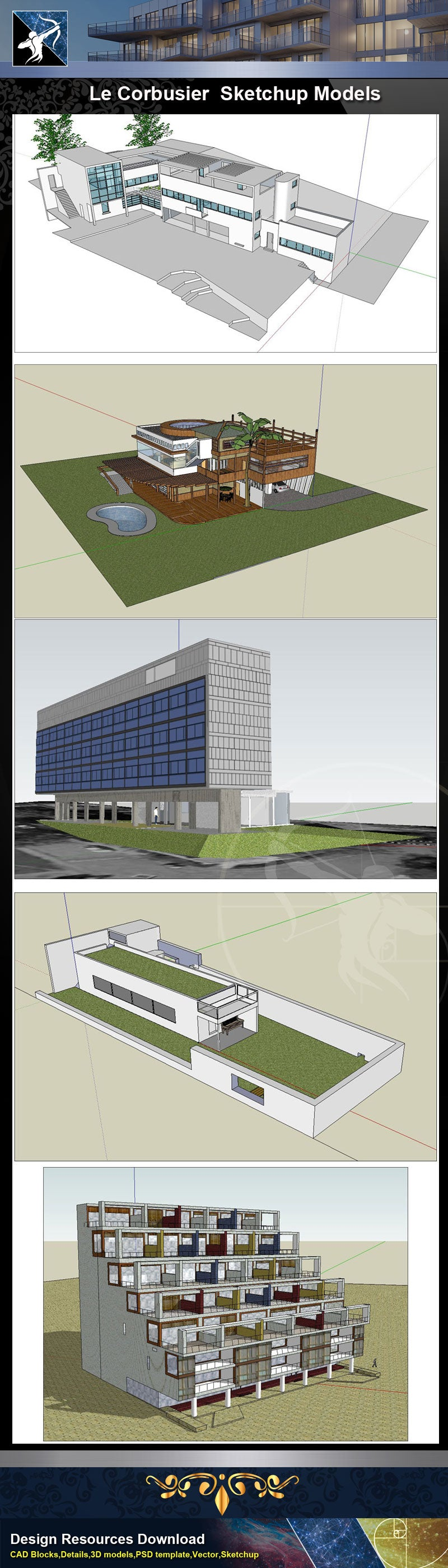 ★Famous Architecture -24 Kinds of Le Corbusier Sketchup 3D Models