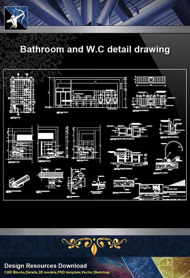 Bathroom and W.C detail drawing