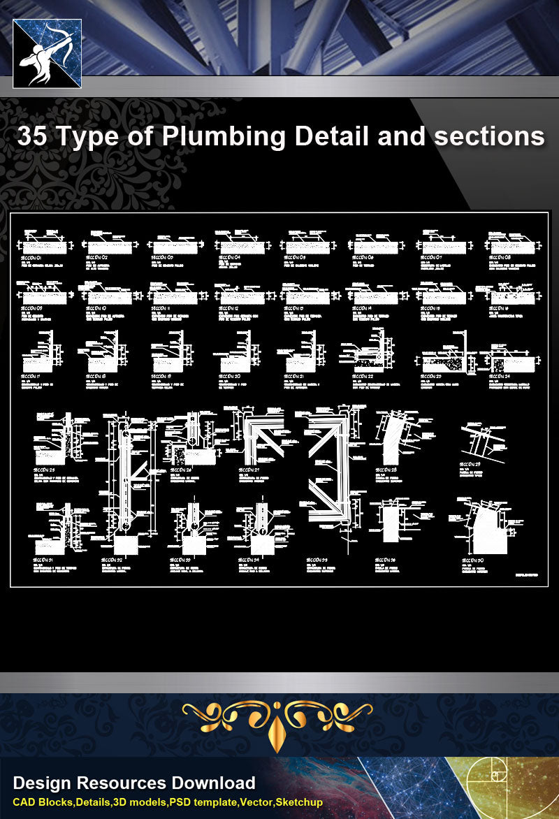 【Sanitations Details】35 Type of Plumbing Detail and sections
