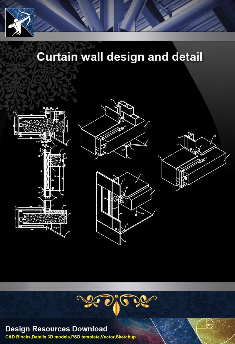 Wall Details Curtain Wall Design And Detail In Autocad Dwg Files