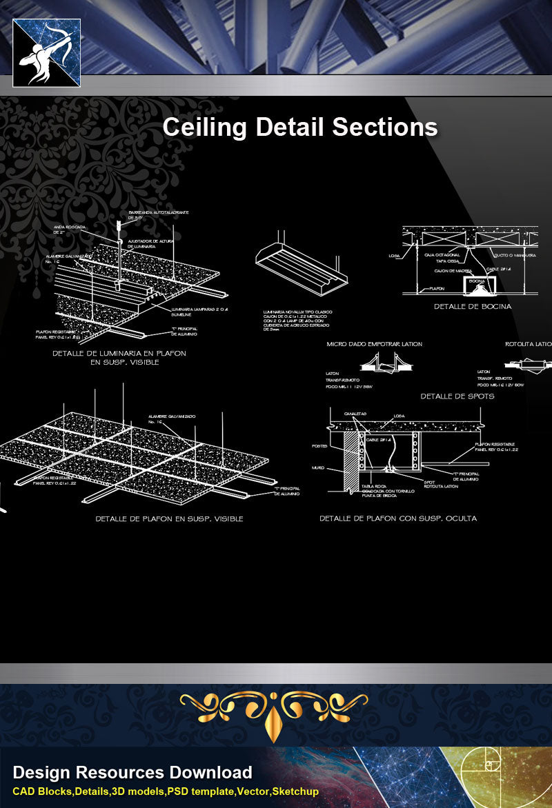 ★【Architecture Details】Ceiling Detail Sections