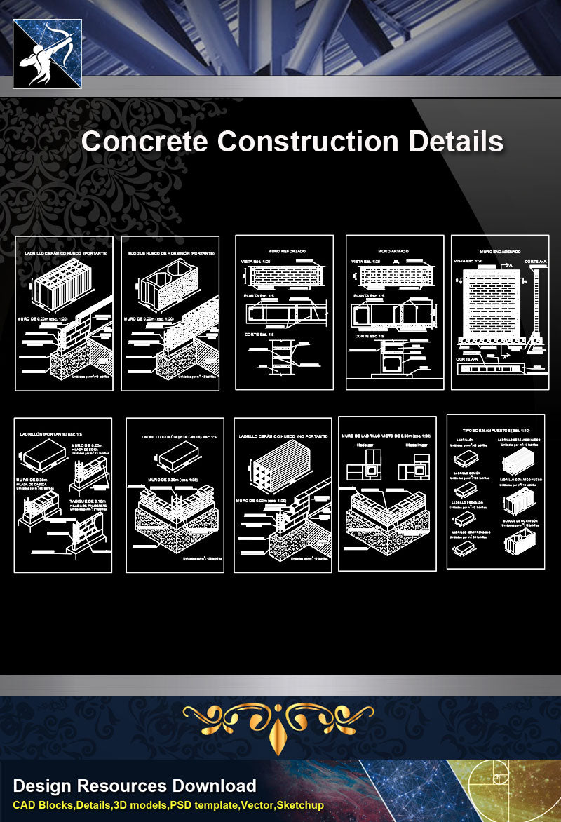 ★【Concrete Details】Different types of masonry work design drawing