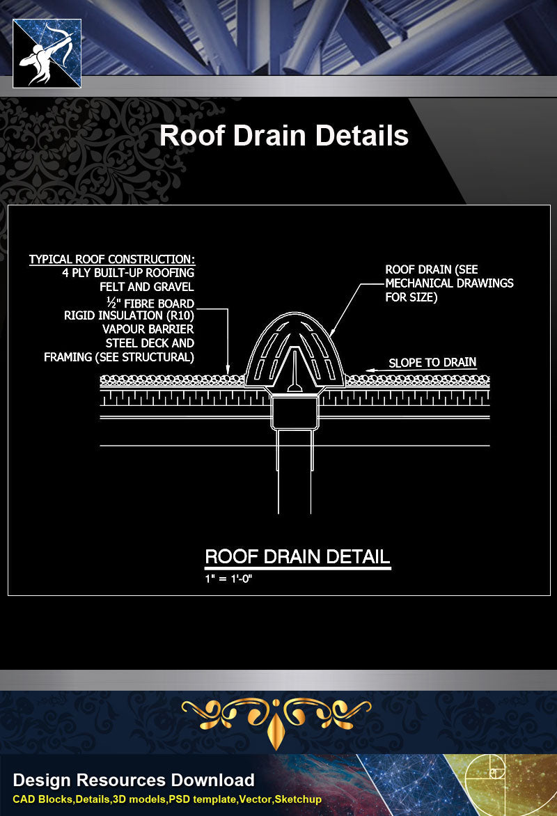 【Roof Details】Free Roof Drain Detail