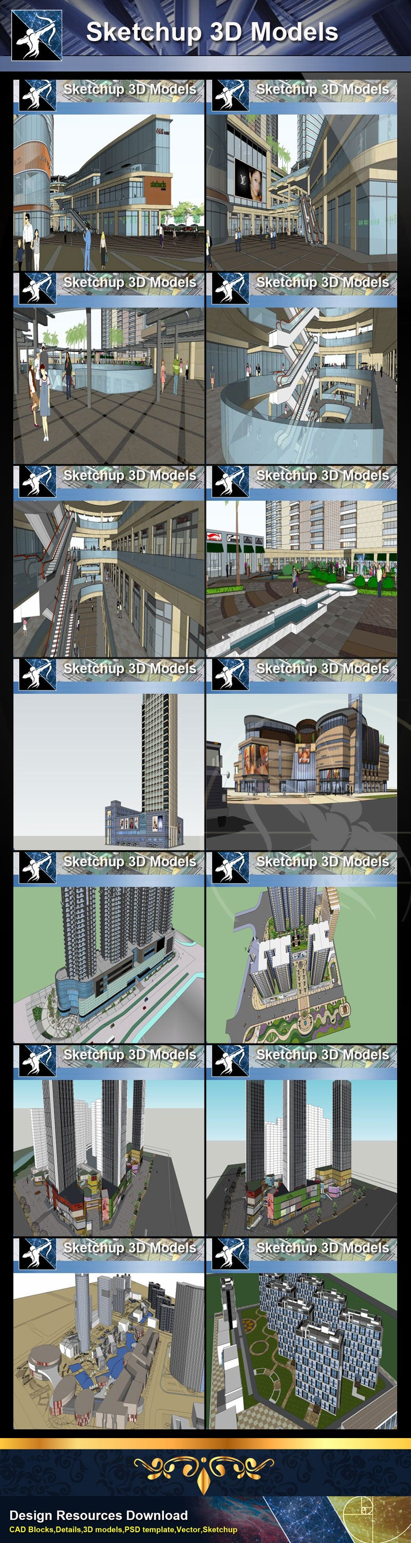 ★Best 50 Types of City Design,Commercial Building Sketchup 3D Models Collection(Recommanded!!)