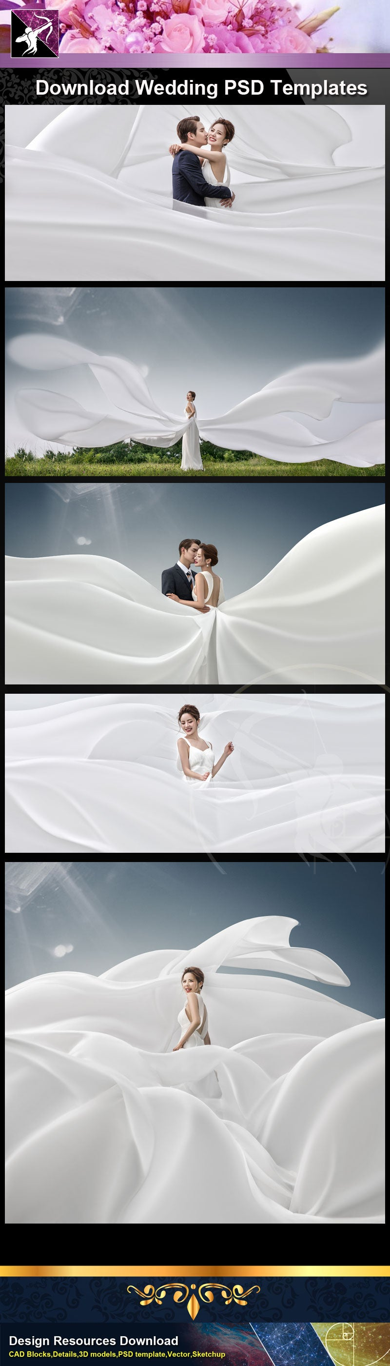 "Photoshop PSD Wedding Templates ""PSD"" file can be used in wedding album design."