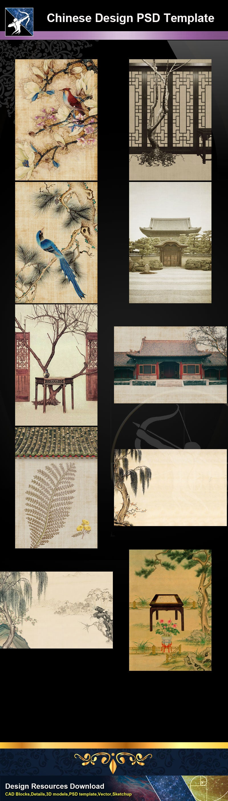 "Photoshop PSD Chinese Design Templates ""PSD"" files can be used in chinese art design."