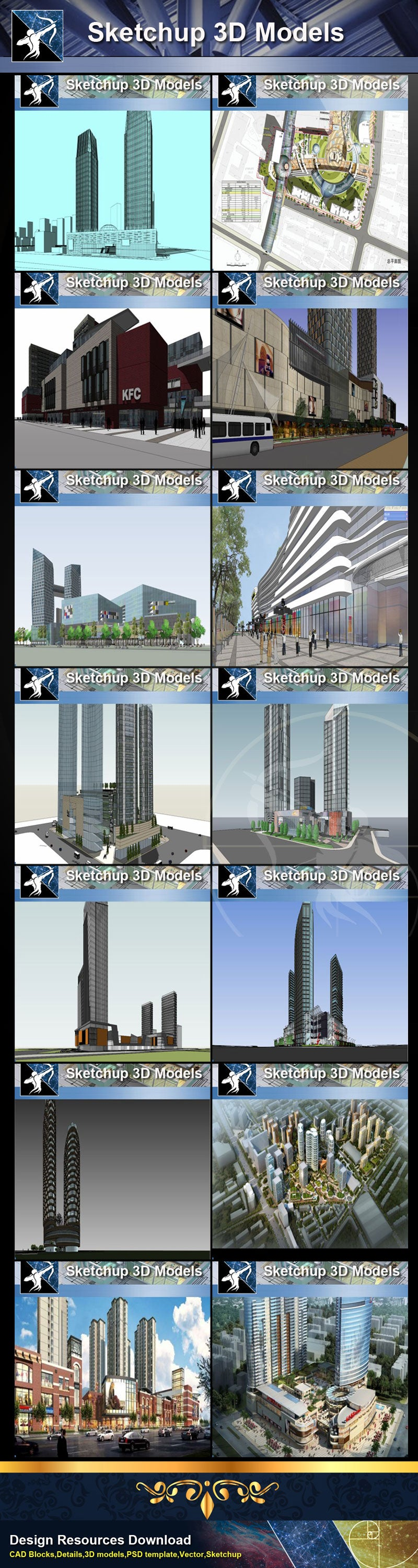 ☆Best 29 Types of Large Scale Commercial Building Sketchup 3D Models C