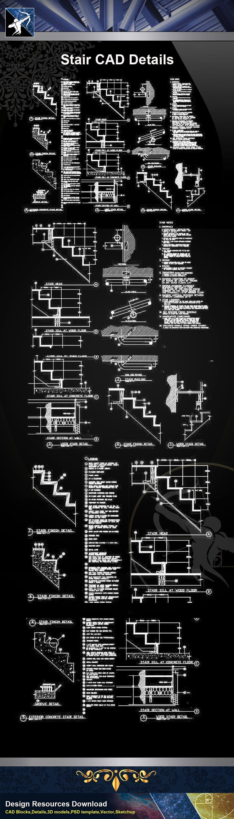 ★【Stair Details】Stair CAD Details